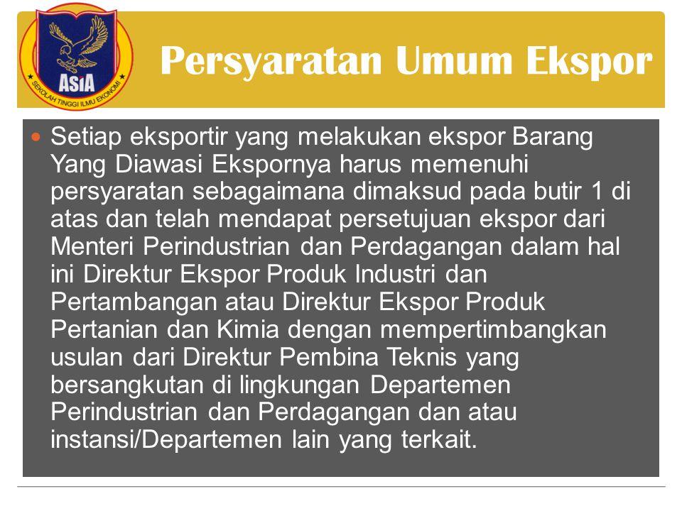 Persyaratan Umum Ekspor