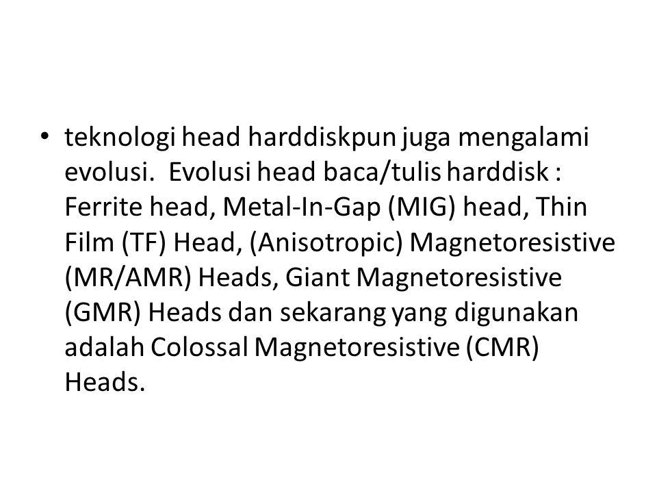 teknologi head harddiskpun juga mengalami evolusi