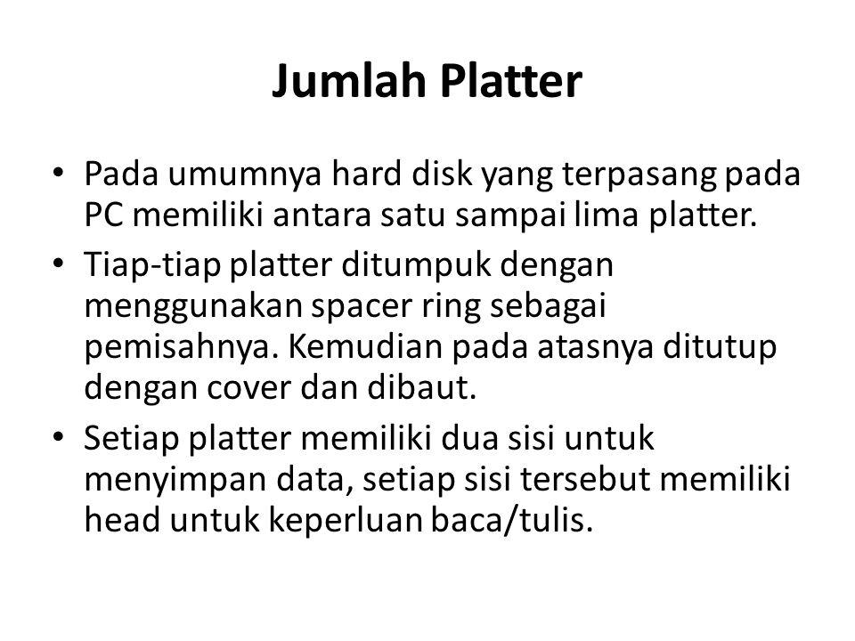 Jumlah Platter Pada umumnya hard disk yang terpasang pada PC memiliki antara satu sampai lima platter.