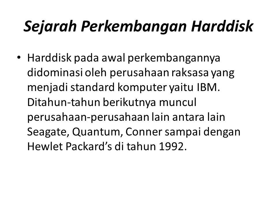 Sejarah Perkembangan Harddisk