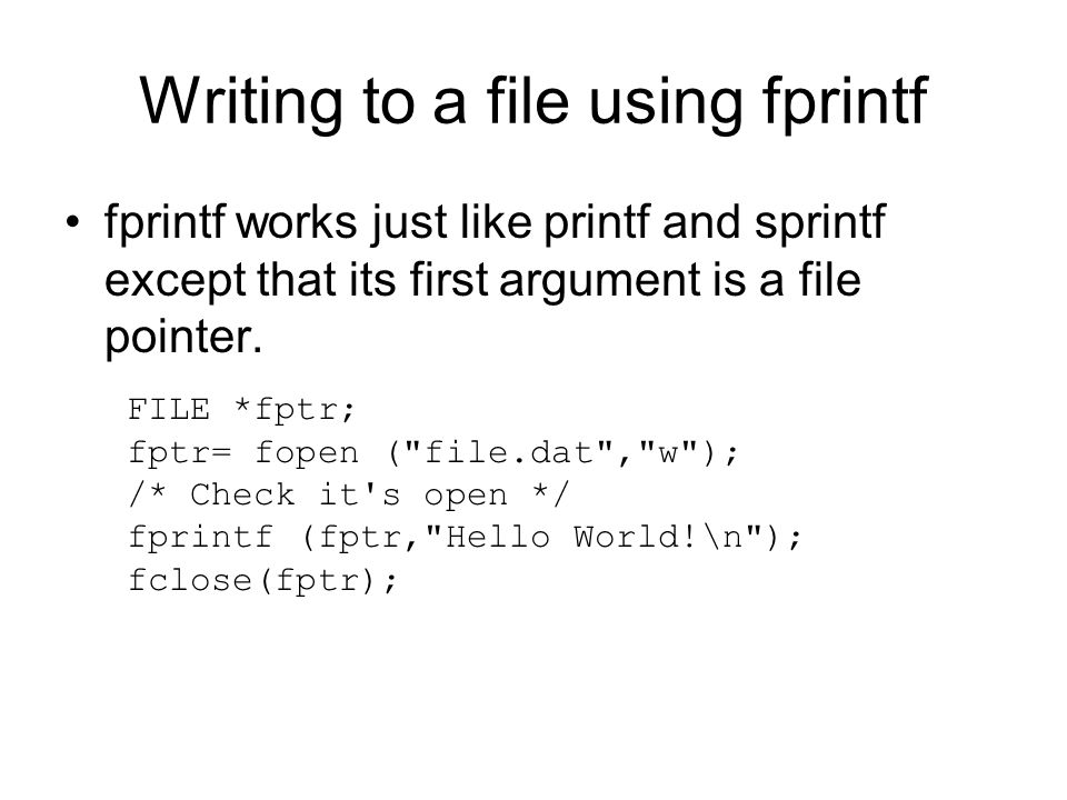 Writing to a file using fprintf