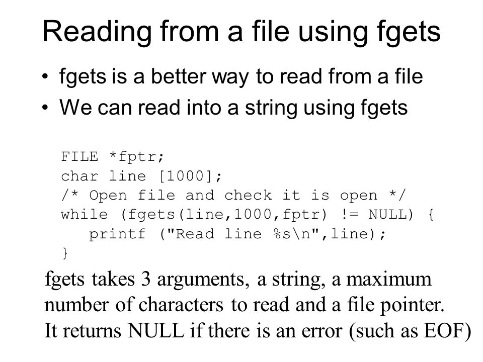 Reading from a file using fgets