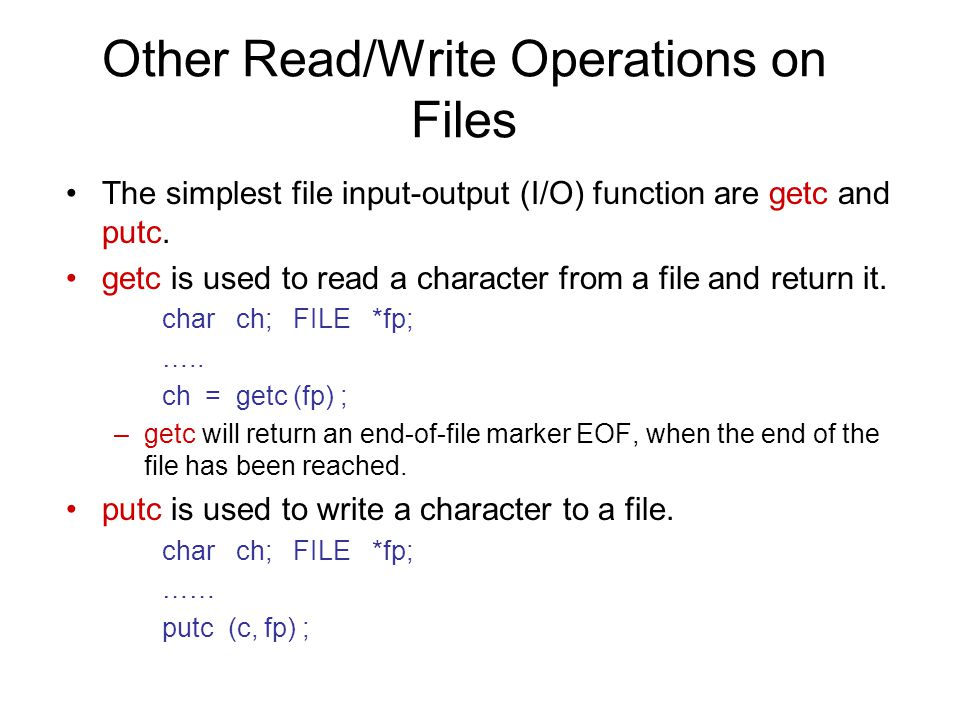 Other Read/Write Operations on Files
