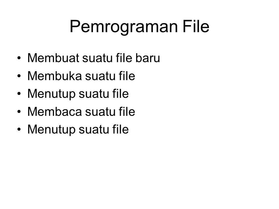 Pemrograman File Membuat suatu file baru Membuka suatu file