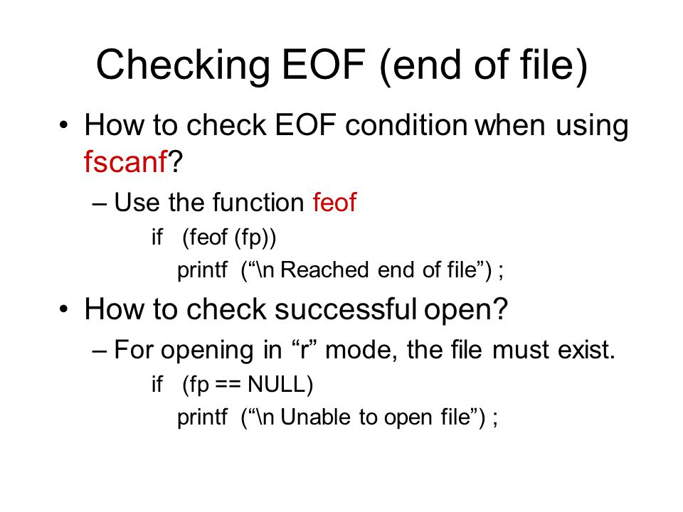 Checking EOF (end of file)