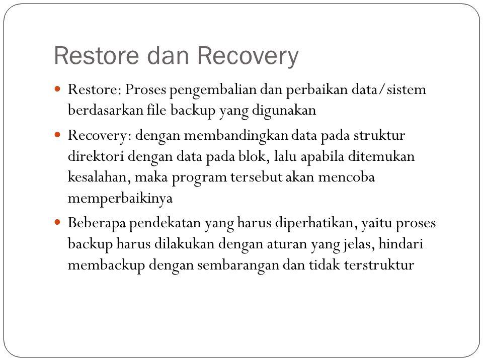 Restore dan Recovery Restore: Proses pengembalian dan perbaikan data/sistem berdasarkan file backup yang digunakan.