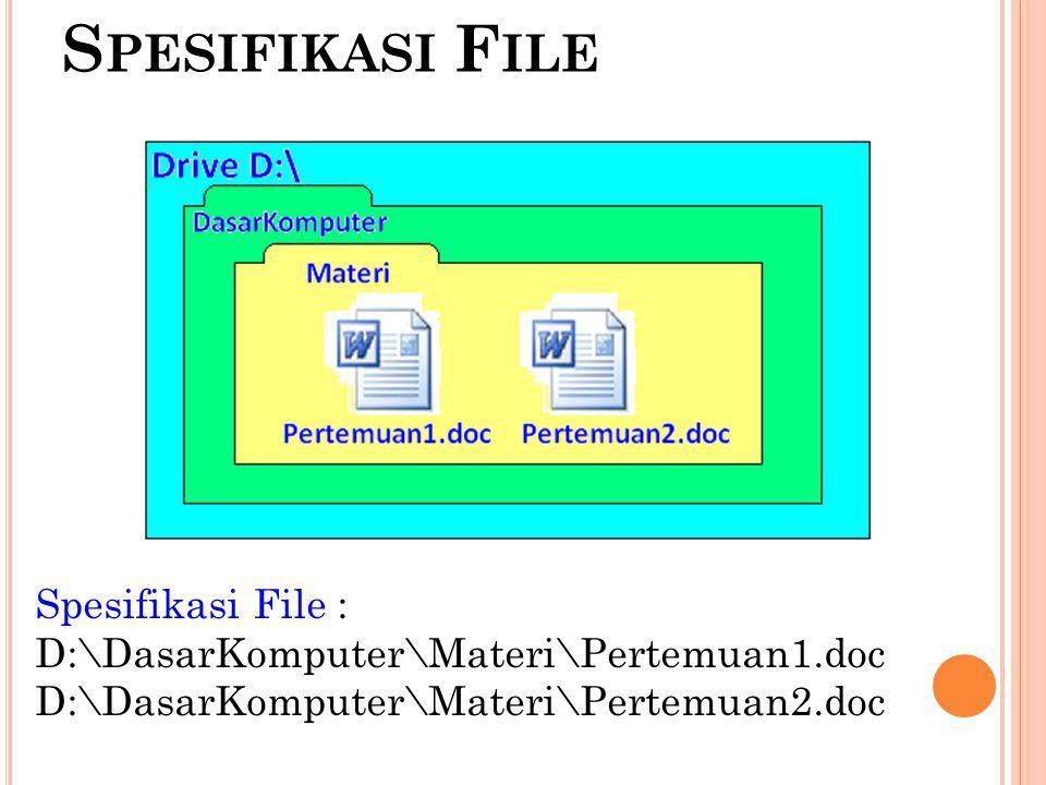 Spesifikasi File Spesifikasi File :