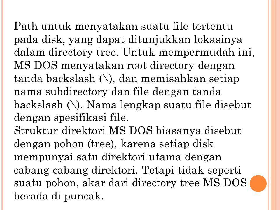 Path untuk menyatakan suatu file tertentu pada disk, yang dapat ditunjukkan lokasinya dalam directory tree. Untuk mempermudah ini, MS DOS menyatakan root directory dengan tanda backslash (\), dan memisahkan setiap nama subdirectory dan file dengan tanda backslash (\). Nama lengkap suatu file disebut dengan spesifikasi file.