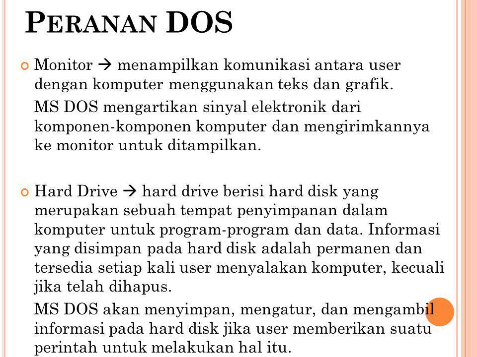 Peranan DOS Monitor  menampilkan komunikasi antara user dengan komputer menggunakan teks dan grafik.