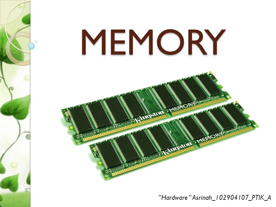 MEMORY Hardware Asrinah_102904107_PTIK_A