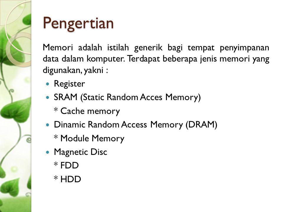 Pengertian Memori adalah istilah generik bagi tempat penyimpanan data dalam komputer. Terdapat beberapa jenis memori yang digunakan, yakni :