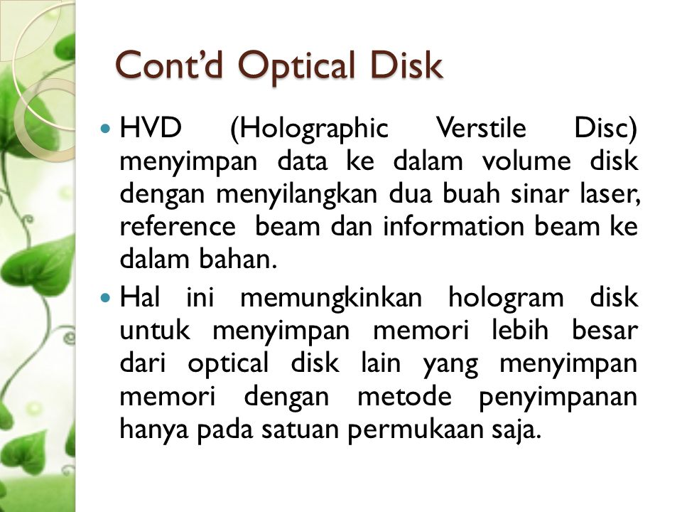 Cont'd Optical Disk