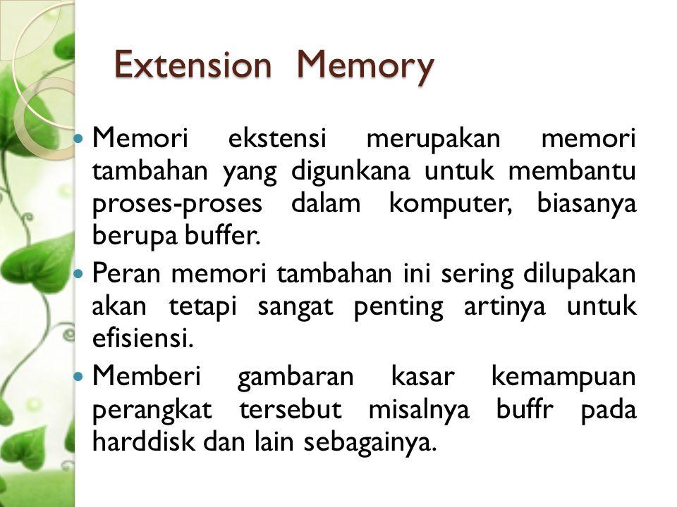 Extension Memory Memori ekstensi merupakan memori tambahan yang digunkana untuk membantu proses-proses dalam komputer, biasanya berupa buffer.