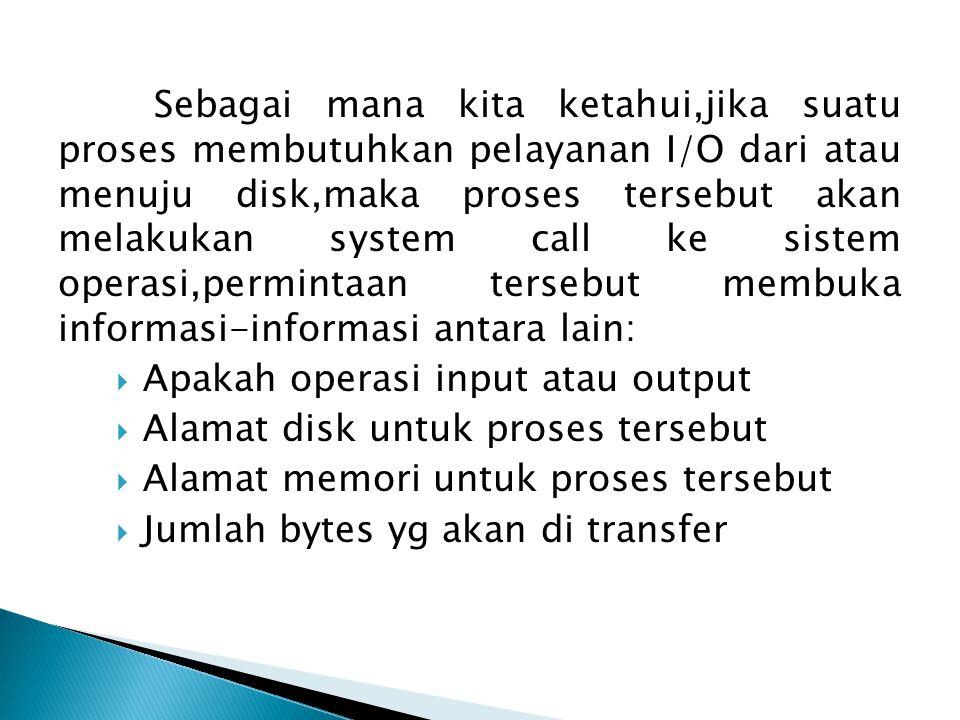 Sebagai mana kita ketahui,jika suatu proses membutuhkan pelayanan I/O dari atau menuju disk,maka proses tersebut akan melakukan system call ke sistem operasi,permintaan tersebut membuka informasi-informasi antara lain:
