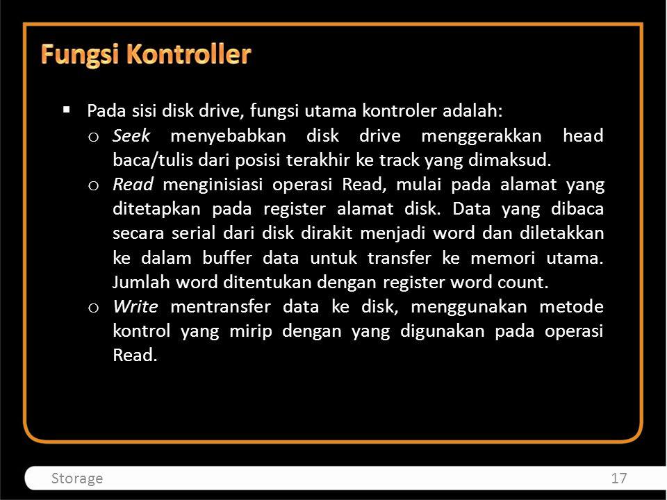 Fungsi Kontroller Pada sisi disk drive, fungsi utama kontroler adalah: