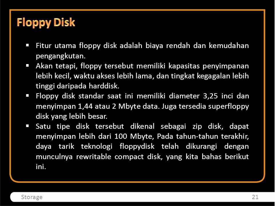 Floppy Disk Fitur utama floppy disk adalah biaya rendah dan kemudahan pengangkutan.