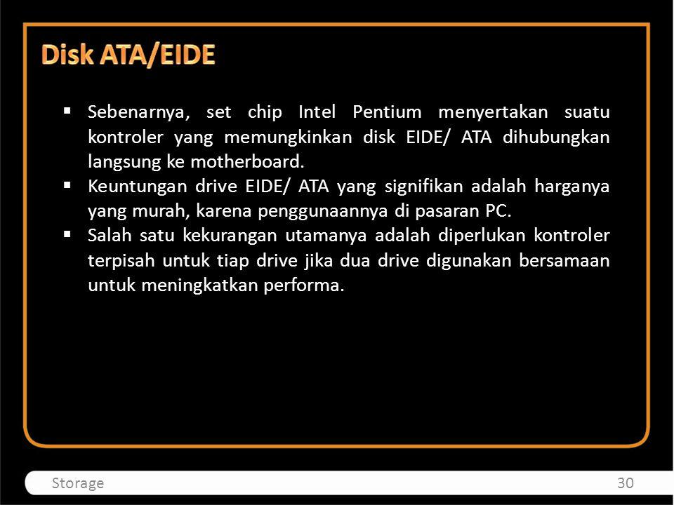 Disk ATA/EIDE Sebenarnya, set chip Intel Pentium menyertakan suatu kontroler yang memungkinkan disk EIDE/ ATA dihubungkan langsung ke motherboard.