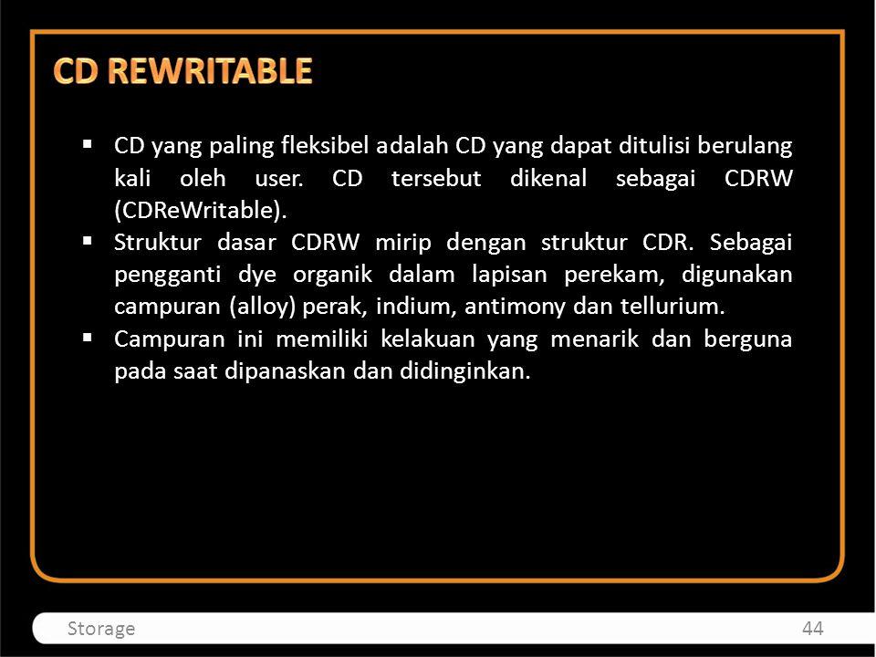 CD REWRITABLE CD yang paling fleksibel adalah CD yang dapat ditulisi berulang kali oleh user. CD tersebut dikenal sebagai CDRW (CDReWritable).