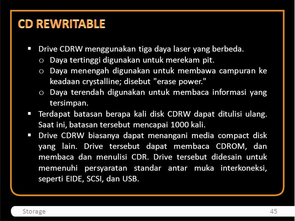 CD REWRITABLE Drive CDRW menggunakan tiga daya laser yang berbeda.