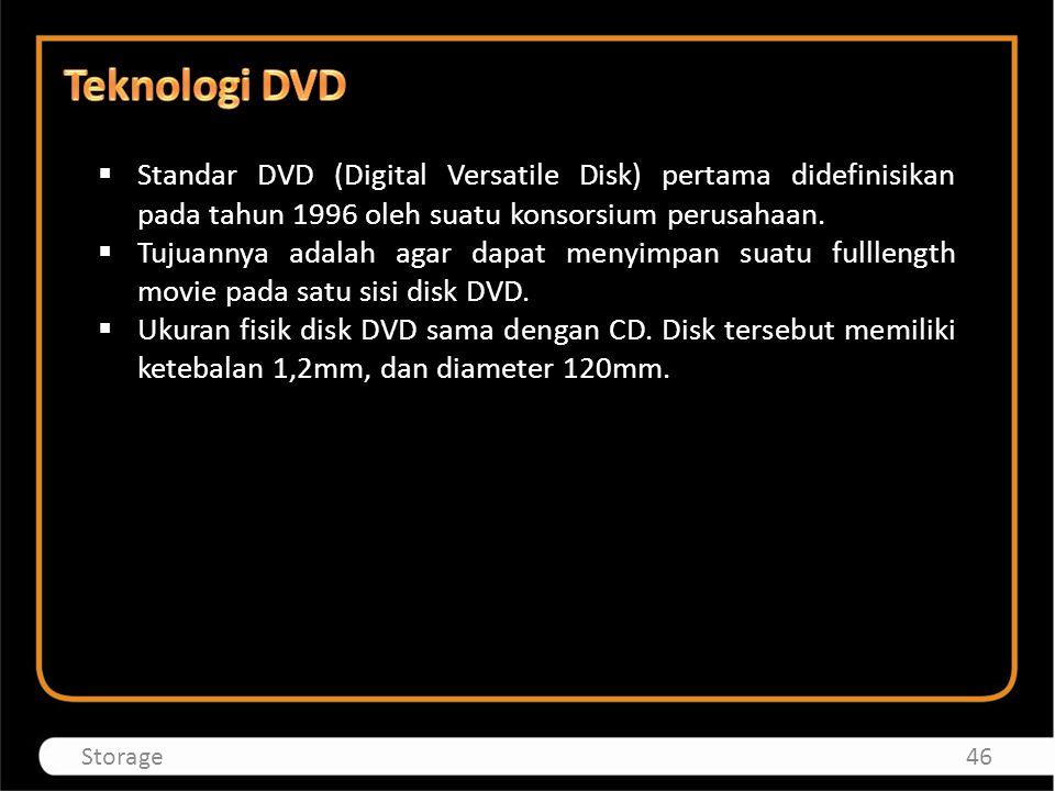 Teknologi DVD Standar DVD (Digital Versatile Disk) pertama didefinisikan pada tahun 1996 oleh suatu konsorsium perusahaan.