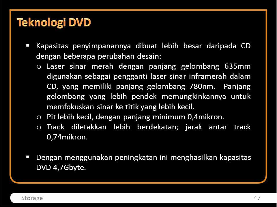 Teknologi DVD Kapasitas penyimpanannya dibuat lebih besar daripada CD dengan beberapa perubahan desain: