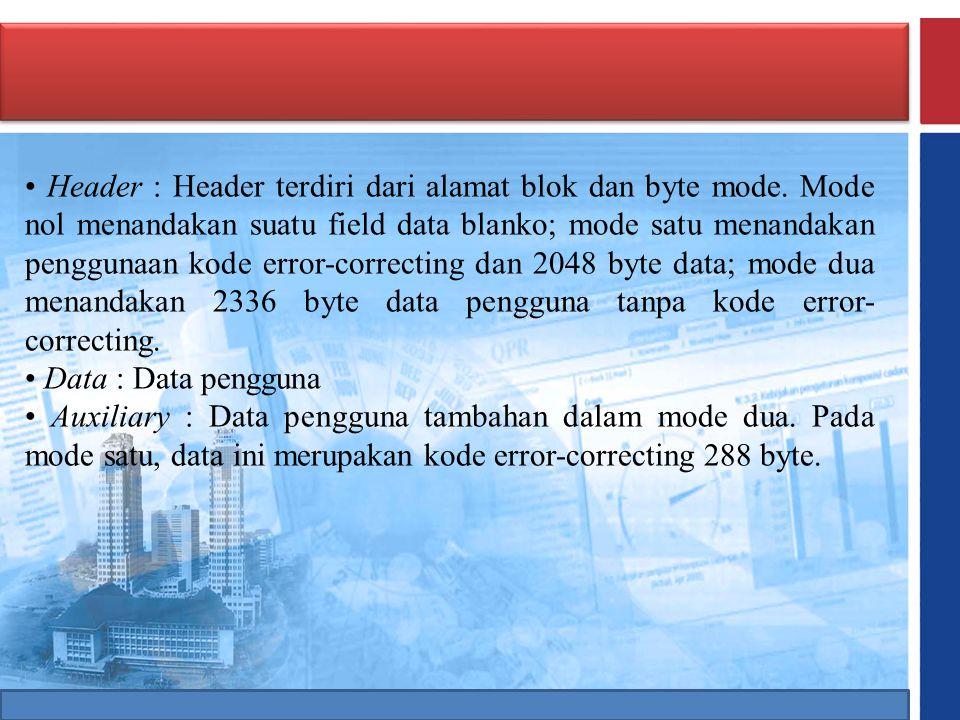 • Header : Header terdiri dari alamat blok dan byte mode