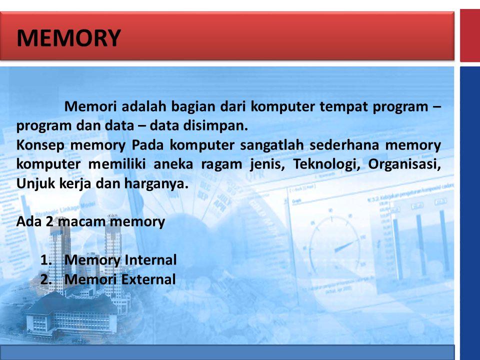 MEMORY Memori adalah bagian dari komputer tempat program – program dan data – data disimpan.