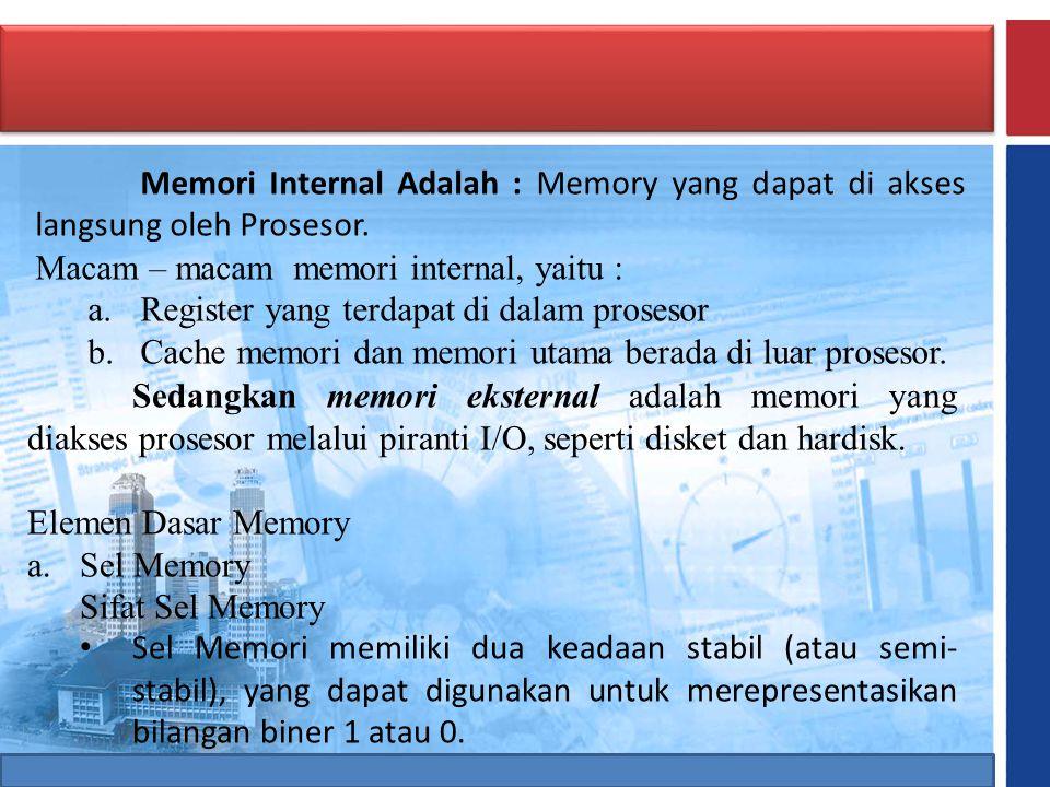 Memori Internal Adalah : Memory yang dapat di akses langsung oleh Prosesor.