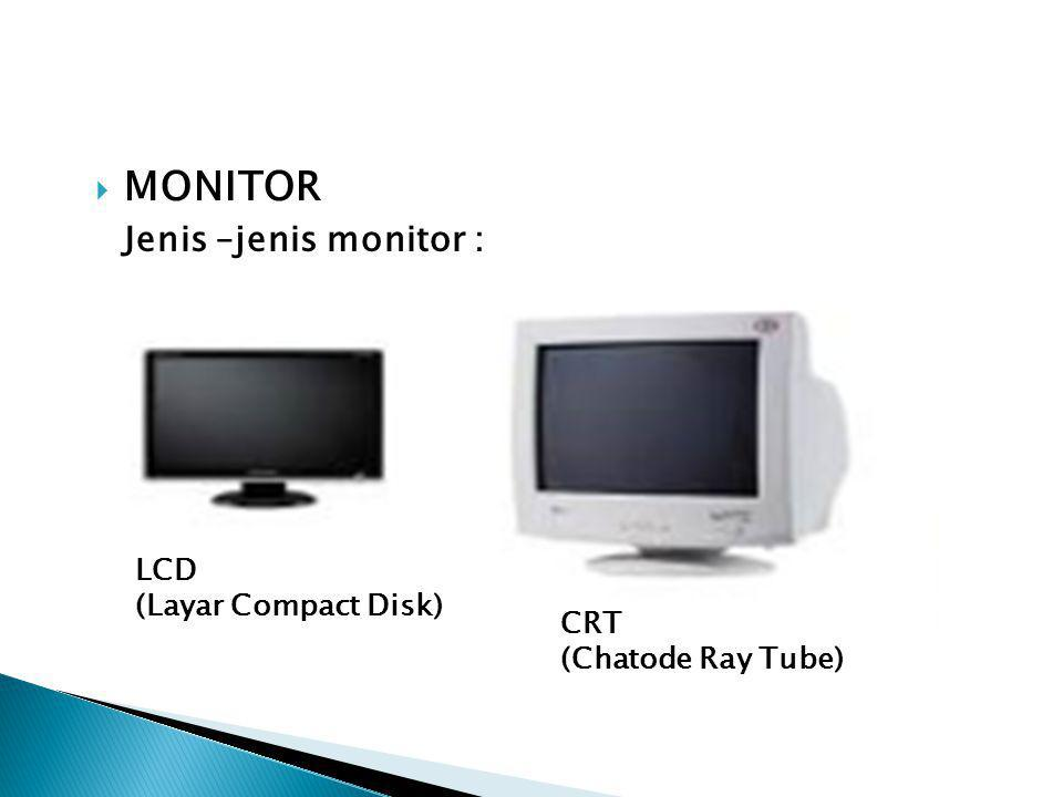 MONITOR Jenis –jenis monitor : LCD (Layar Compact Disk) CRT