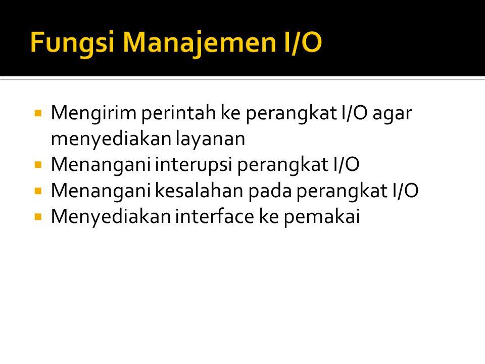 Fungsi Manajemen I/O Mengirim perintah ke perangkat I/O agar menyediakan layanan. Menangani interupsi perangkat I/O.