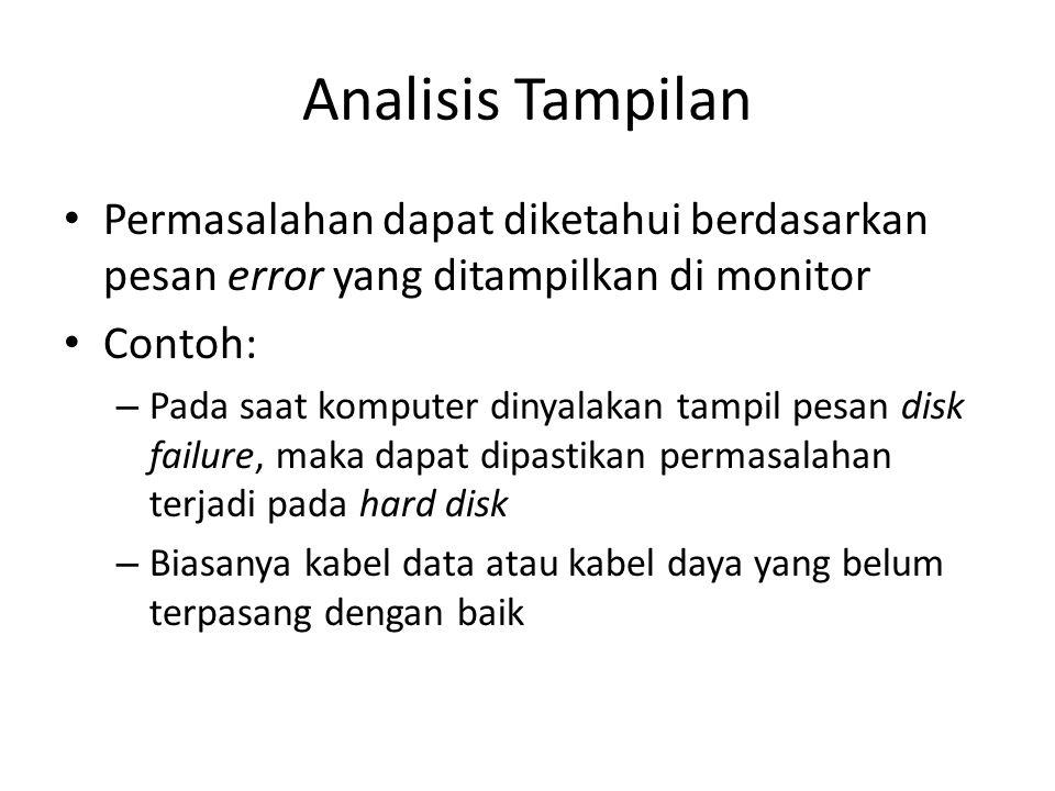 Analisis Tampilan Permasalahan dapat diketahui berdasarkan pesan error yang ditampilkan di monitor.