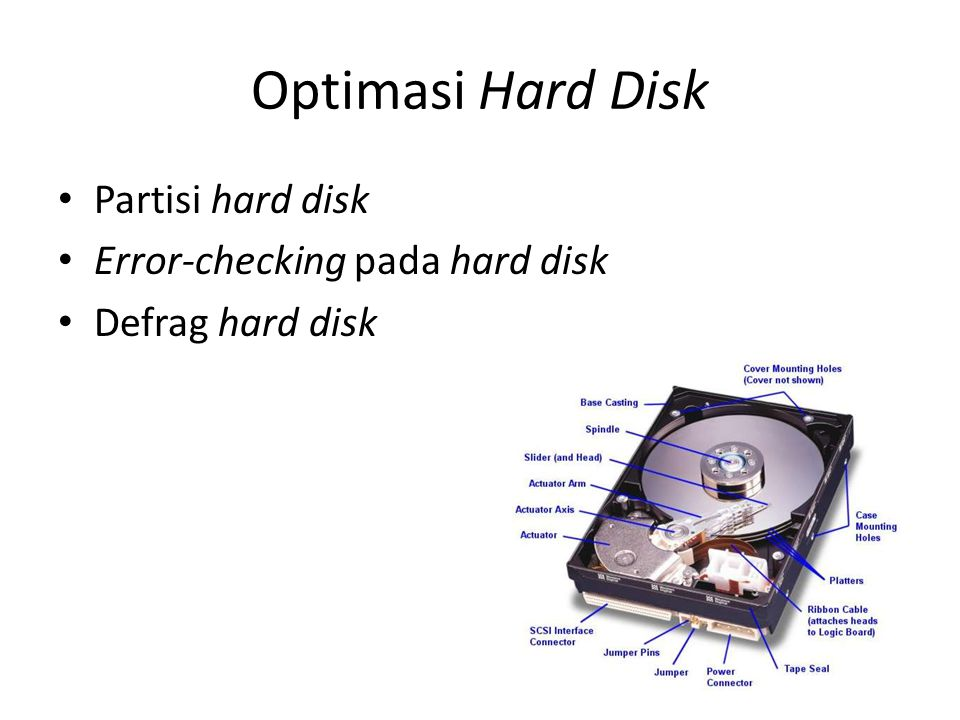 Optimasi Hard Disk Partisi hard disk Error-checking pada hard disk