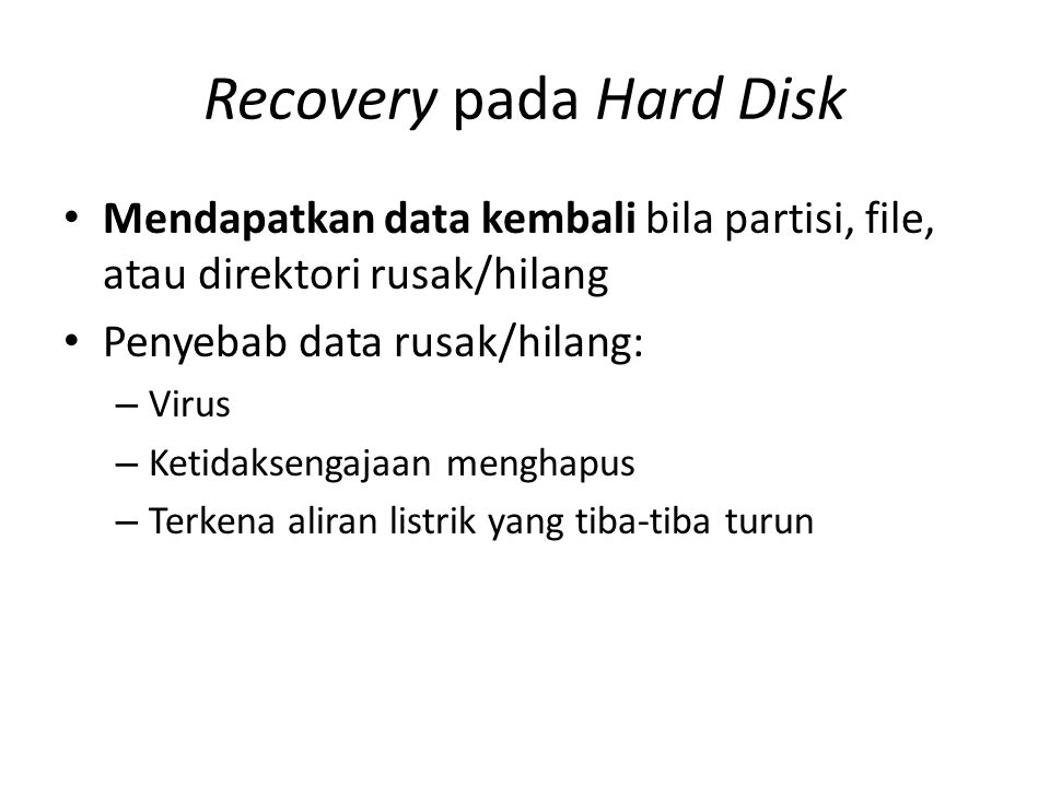 Recovery pada Hard Disk