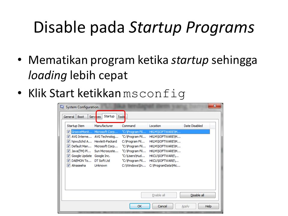 Disable pada Startup Programs