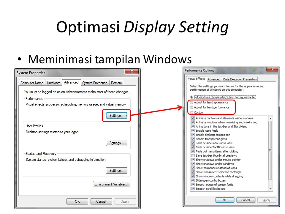 Optimasi Display Setting