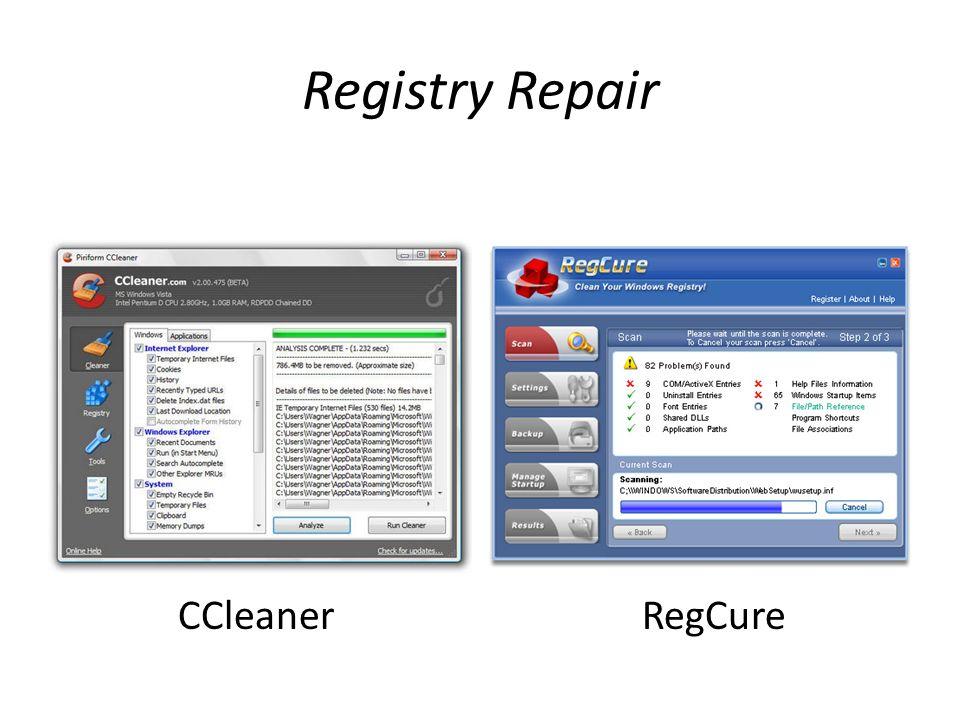 Registry Repair CCleaner RegCure