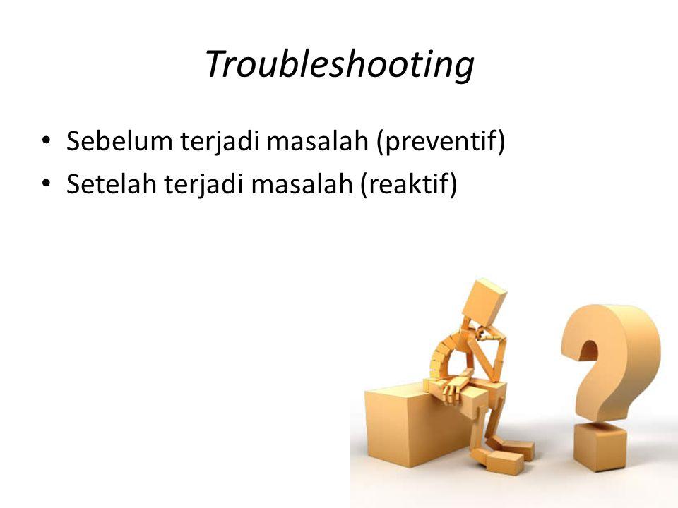 Troubleshooting Sebelum terjadi masalah (preventif)