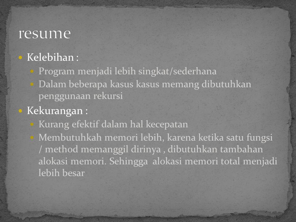 resume Kelebihan : Kekurangan :