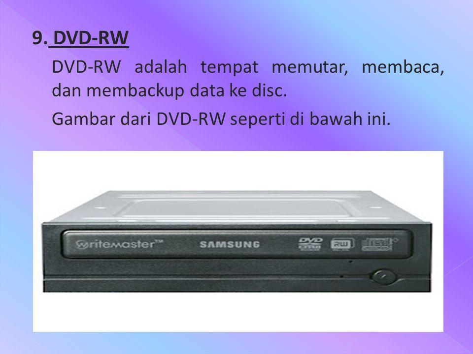 9. DVD-RW DVD-RW adalah tempat memutar, membaca, dan membackup data ke disc. Gambar dari DVD-RW seperti di bawah ini.