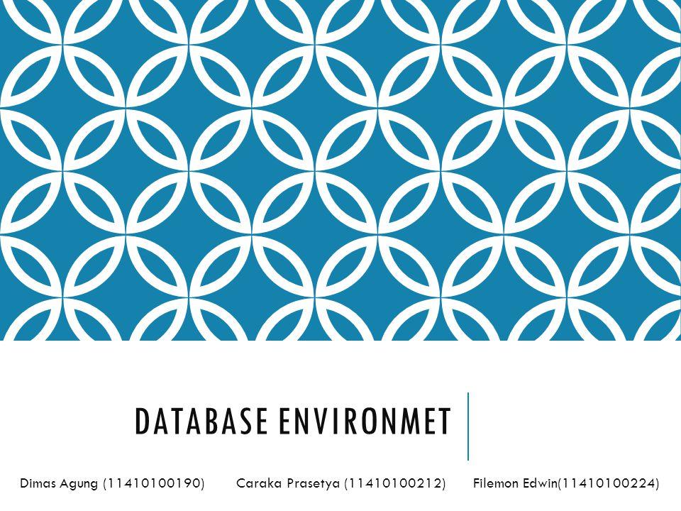 Database Environmet Dimas Agung (11410100190) Caraka Prasetya (11410100212) Filemon Edwin(11410100224)