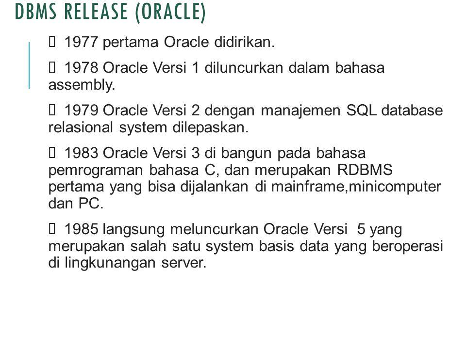 DBMS Release (oracle) Ø 1977 pertama Oracle didirikan.