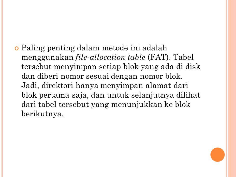 Paling penting dalam metode ini adalah menggunakan file-allocation table (FAT).