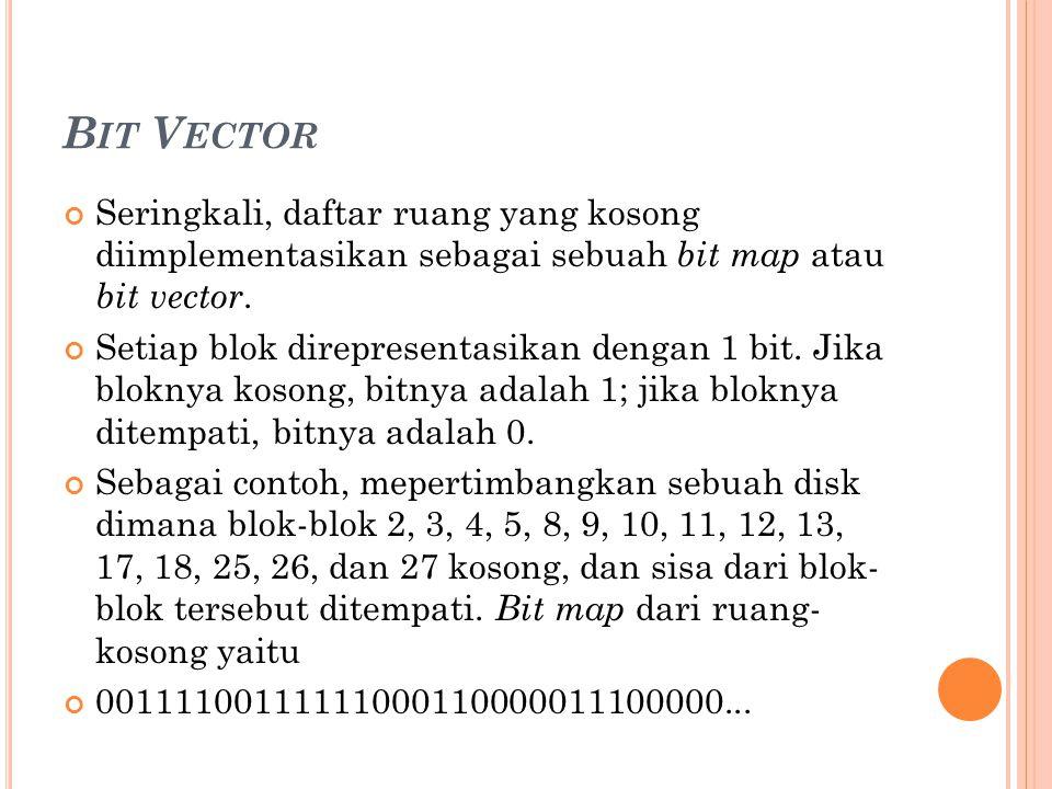Bit Vector Seringkali, daftar ruang yang kosong diimplementasikan sebagai sebuah bit map atau bit vector.