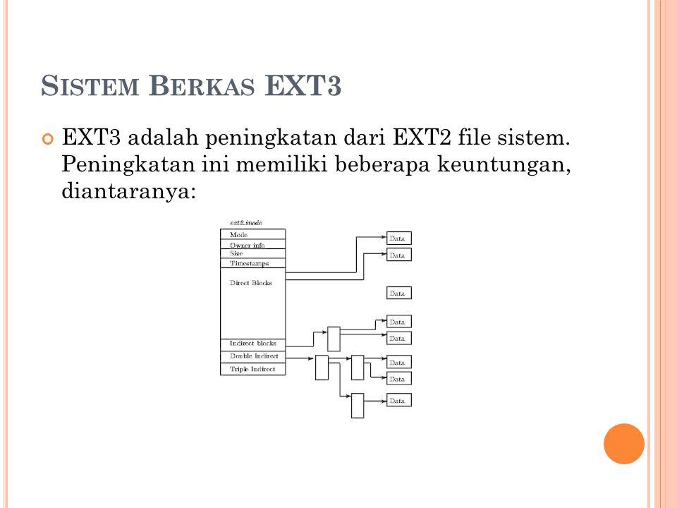 Sistem Berkas EXT3 EXT3 adalah peningkatan dari EXT2 file sistem.