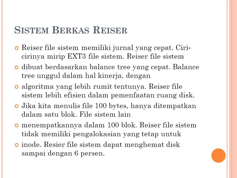 Sistem Berkas Reiser Reiser file sistem memiliki jurnal yang cepat. Ciri- cirinya mirip EXT3 file sistem. Reiser file sistem.