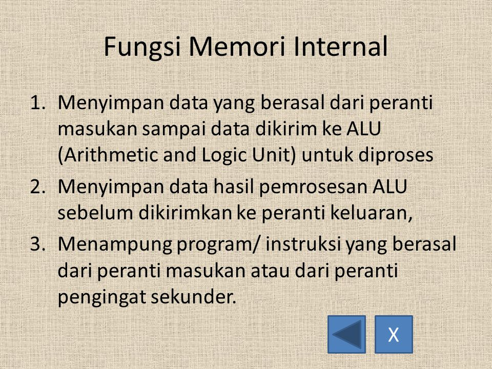 Fungsi Memori Internal