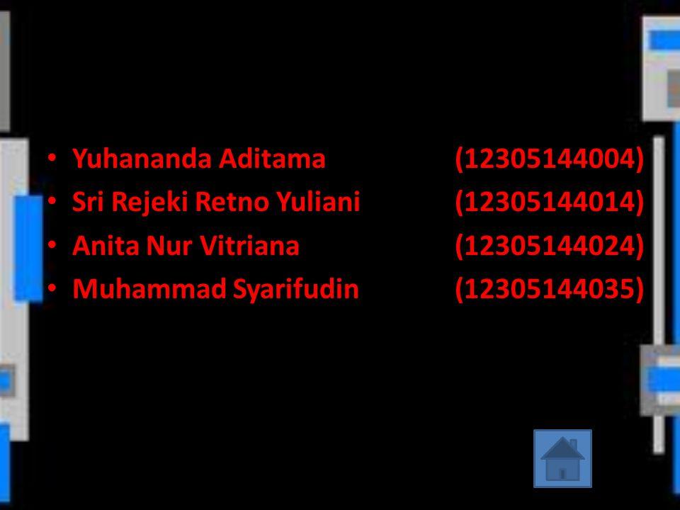 Yuhananda Aditama (12305144004) Sri Rejeki Retno Yuliani (12305144014) Anita Nur Vitriana (12305144024)