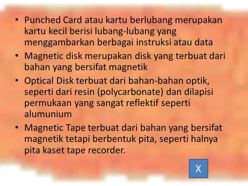 Punched Card atau kartu berlubang merupakan kartu kecil berisi lubang-lubang yang menggambarkan berbagai instruksi atau data