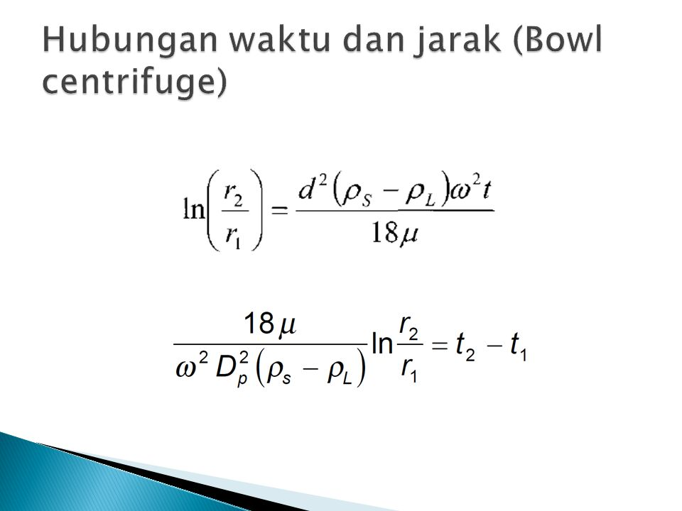 Hubungan waktu dan jarak (Bowl centrifuge)