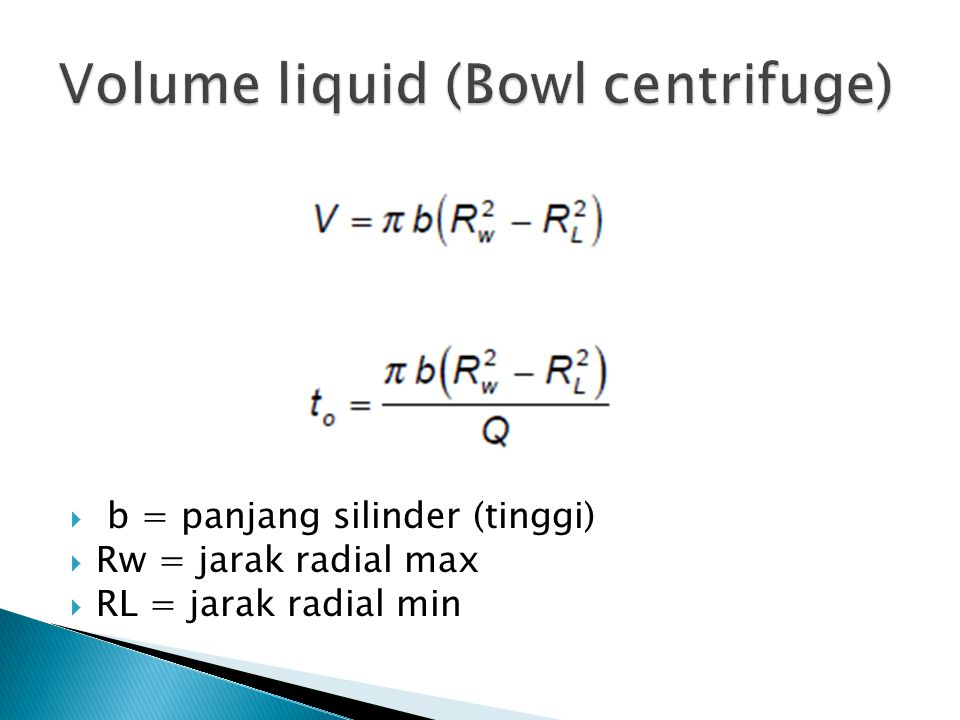 Volume liquid (Bowl centrifuge)
